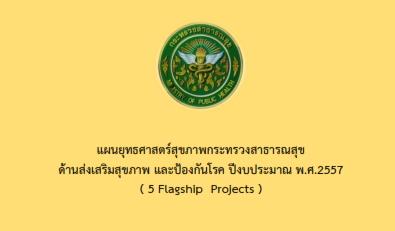 แผนยุทธศาสตร์สุขภาพกระทรวงสาธารณสุข  ด้านส่งเสริมสุขภาพ และป้องกันโรค ปีงบประมาณ พ.ศ.2557  ( 5 Flagship  Projects )